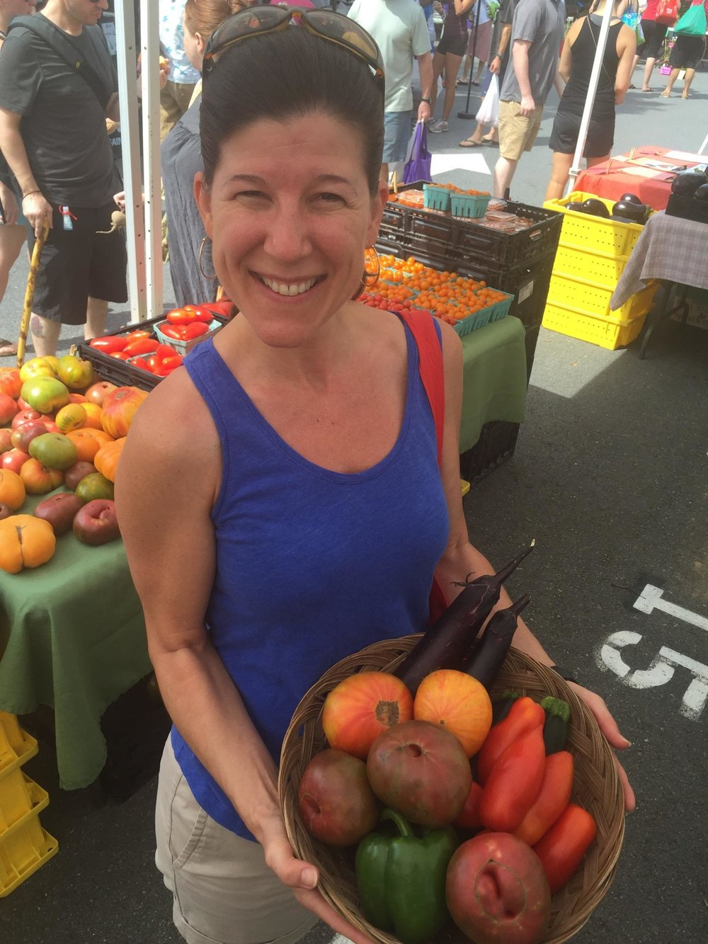 "The owner of my local farmer's Market snapped this picture of me with my ""Loot"" for their newsletter."