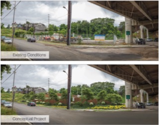 Above: Image of existing project area.      Below: Renderings of streetview of project