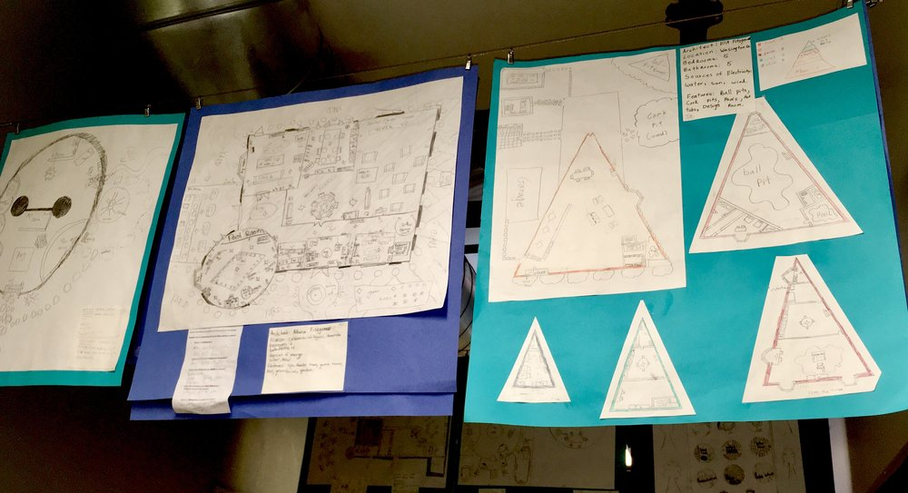 5th Grade Blueprints hanging in Stearns Hall