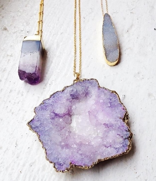 Check these lovely druzy pendants out at Community in Athens, GA!