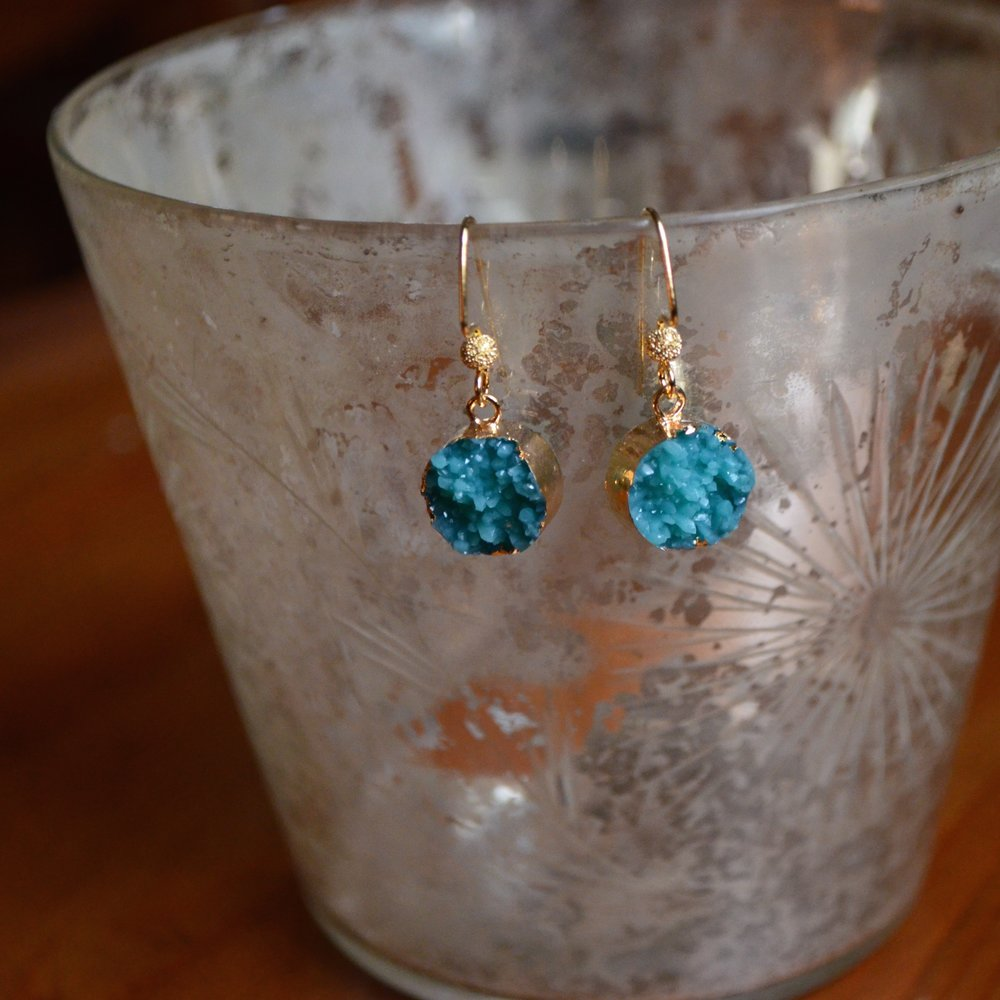 Turquoise Druzy Round Earring