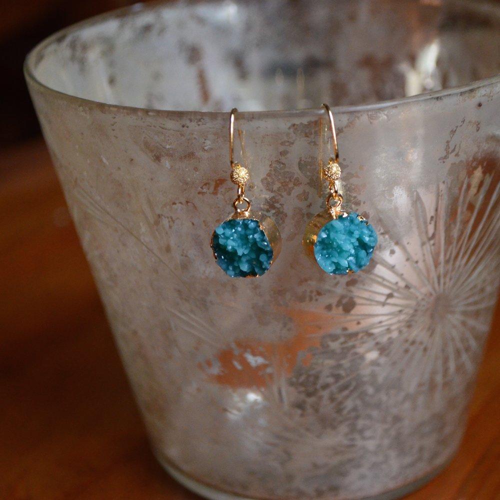 Turquoise Druzy Round Earring