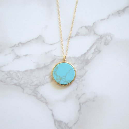 Turquoise circle pendant midi necklace green end jewelry designs turquoise circle pendant midi necklace aloadofball Image collections