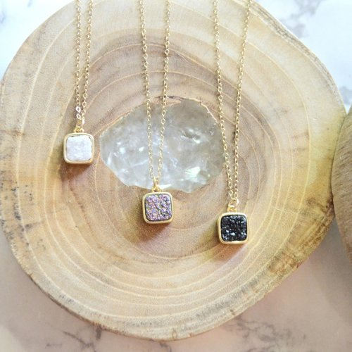 Dainty Square Druzy Pendant Necklace Green End Jewelry Designs