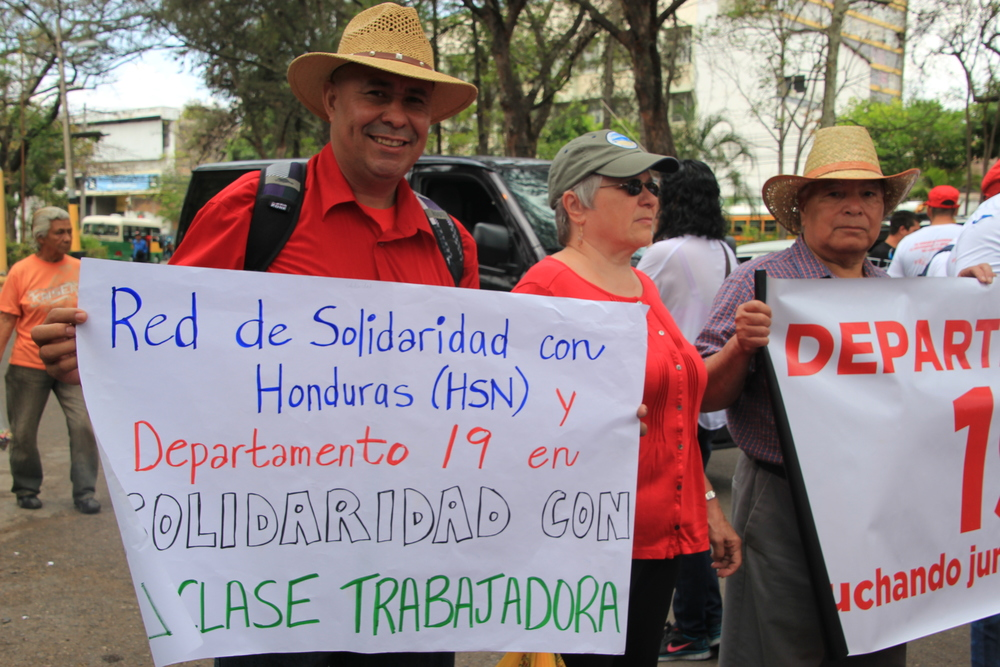 May day march in Tegucigalpa with Honduran members of the HSN. May 1, 2015.