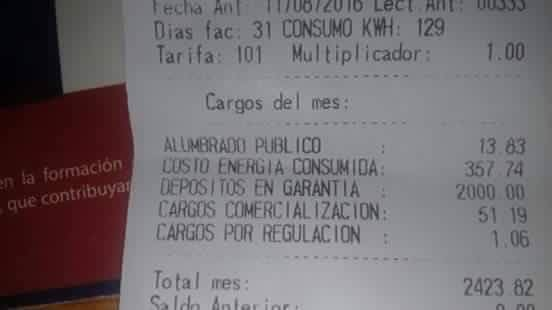 "A picture of an ENEE bill that is circulating on social media. The bill includes an extra charge of 2000 Lps (~$90 USD) that is being said is a ""payment guarantee"""