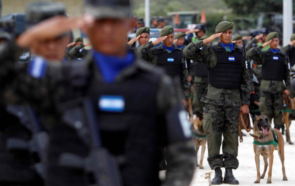Honduran military police at an August 24, 2016, ceremony in Tegucigalpa, Honduras. (Reuters / Jorge Cabrera)