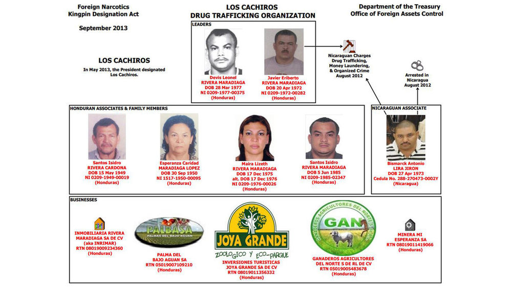 Organizational chart of Los Cachiros by OFAC | US Treasury