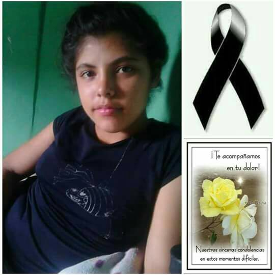 Katherin Nicole Carranza Enamorado (14- years old) killed in Choloma yesterday.
