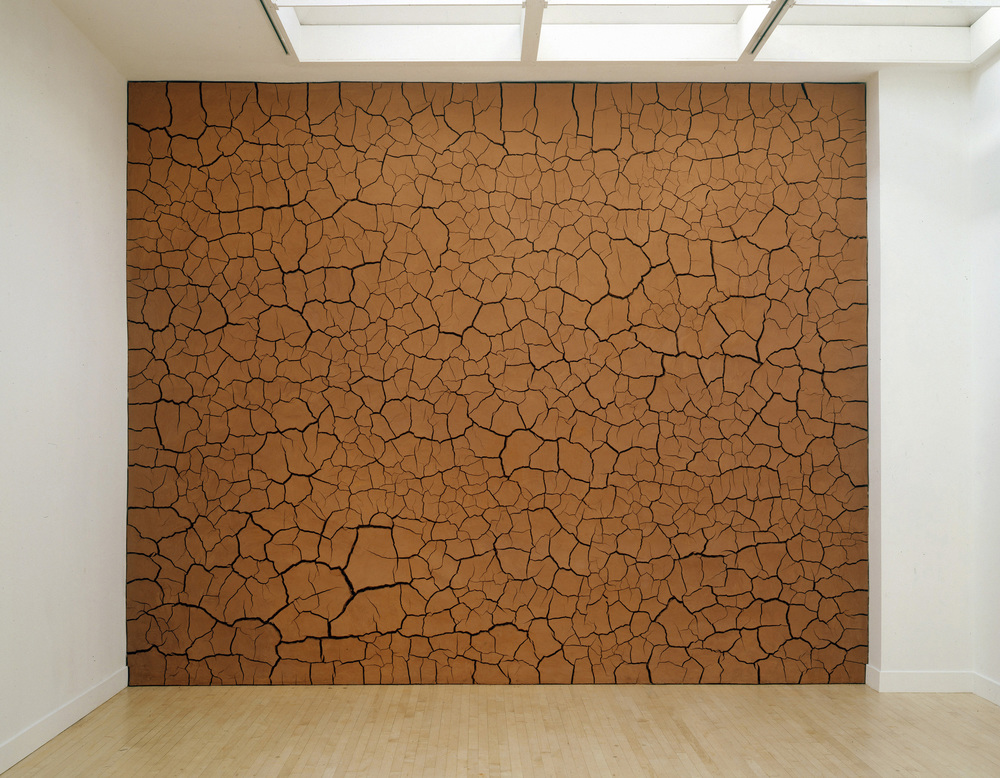 Andy Goldsworthy, Installation view of  Haines Gallery Clay Wall , 1996, California clay and human hair