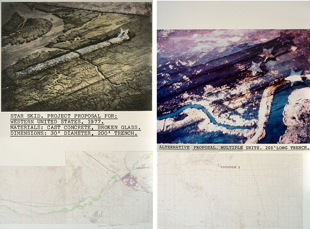 Star Skid , 1977 B&W and color photography, topographical map, handstamp | 2 panels: 60 x 80 inches | HG2353