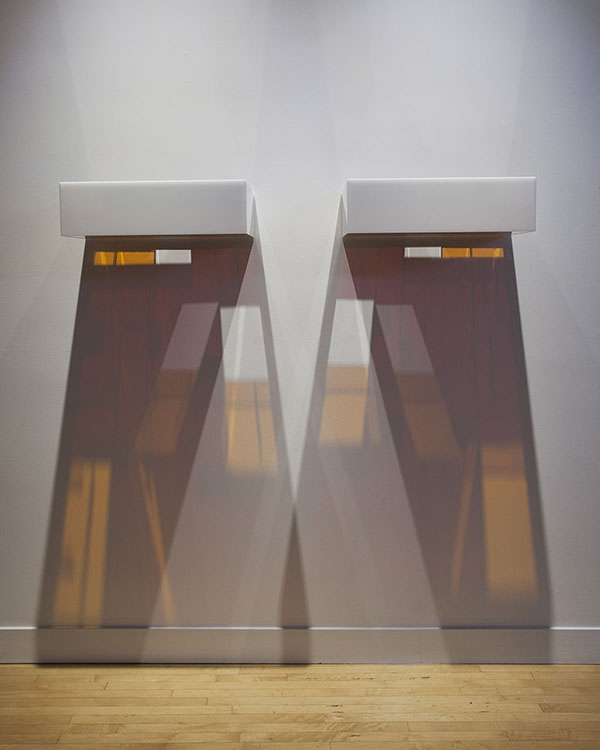 Kiss D3 , 2007 Plexiglas, light | diptych, overall: 7.25 x 59 x 17 inches | HG12757