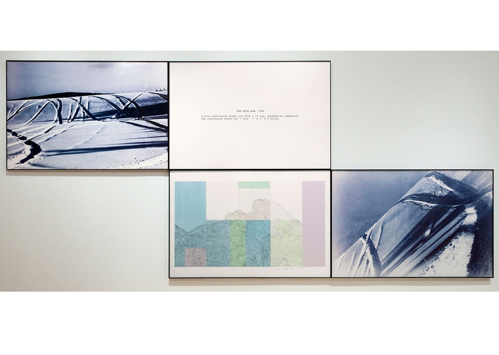 One Hour Run , 1968 Color photography, collage stamped topographic map, collage boundary line photograph | 1 map, 1 text, 2 snow photos: each 40 x 60 inches | HG6437
