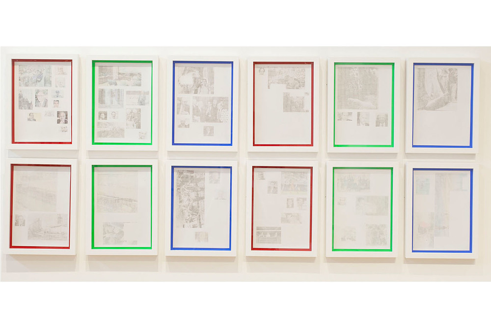 Taha Belal  Untitled (pictures backwards) , 2014 Newspaper ink transfer on inkjet photo paper | each panel: 11.5 x 8.5 inches / installed dimension: 29 x 68 x 1.5 inches | HG12538