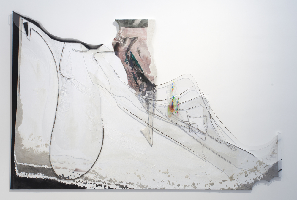 The Marquis's Opinion , 2015 Acrylic, ink, sand, mica, canvas, plexiglass, synthetic rubber, aluminum | 60 x 90 inches | HG13148