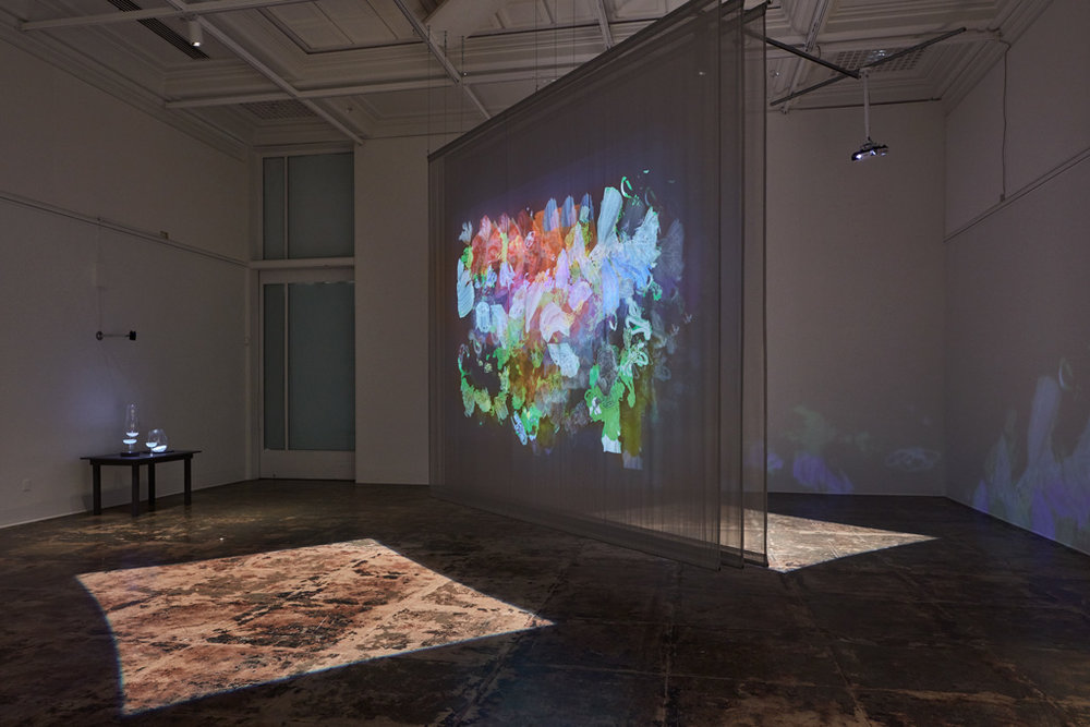 Entangled , 2015, commissioned for installation at the Contemporary Jewish Museum, San Francisco;  pictured at Stanford Art Gallery, 2017 Dual-channel interactive installation on scrims | 24 x 15 x 14 ft | Photo by JKA Photography