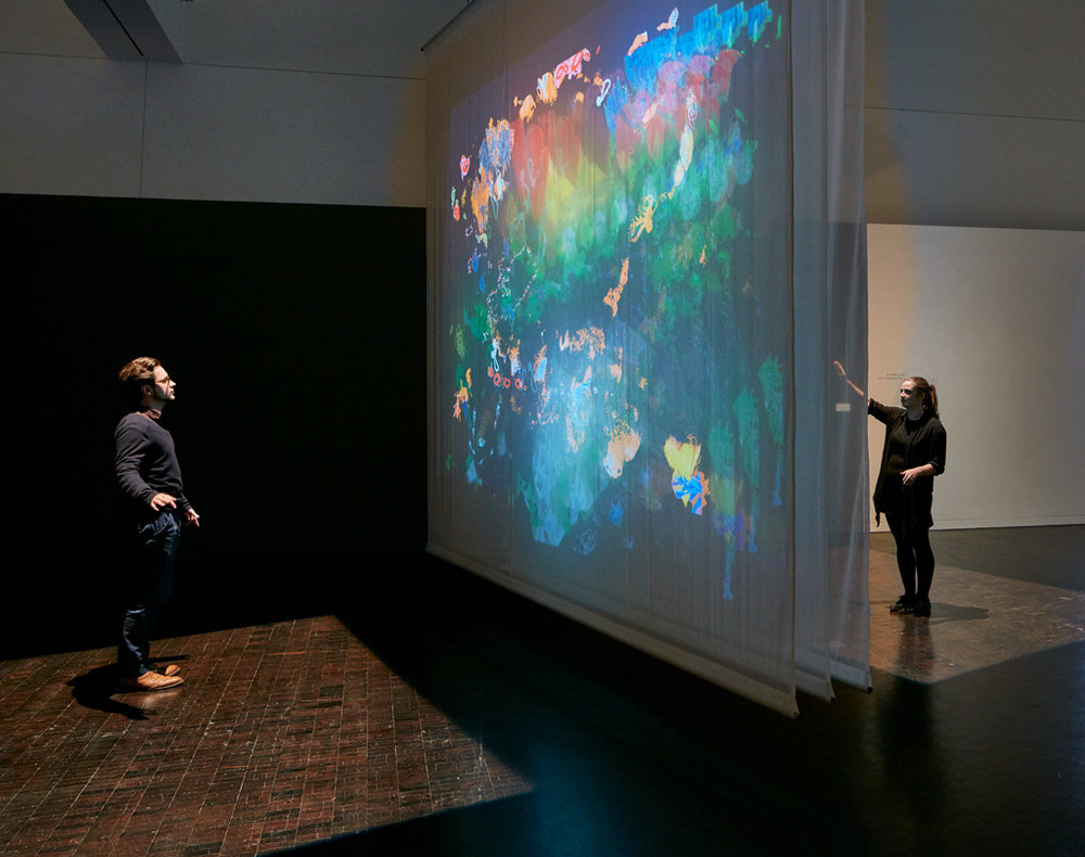 Entangled , 2015, commissioned for installation at the Contemporary Jewish Museum, San Francisco Dual-channel interactive installation on scrims | 24 x 15 x 14 ft | Photo by JKA Photography