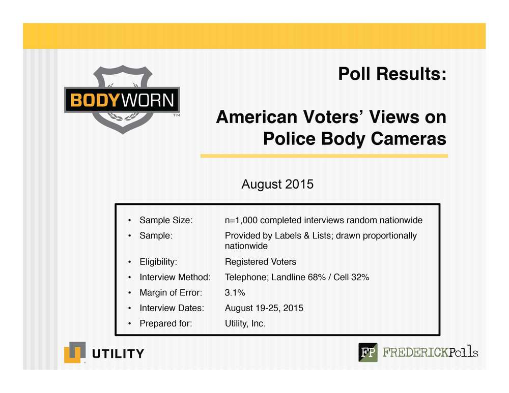 Police Body Camera Poll Results - Slide 1