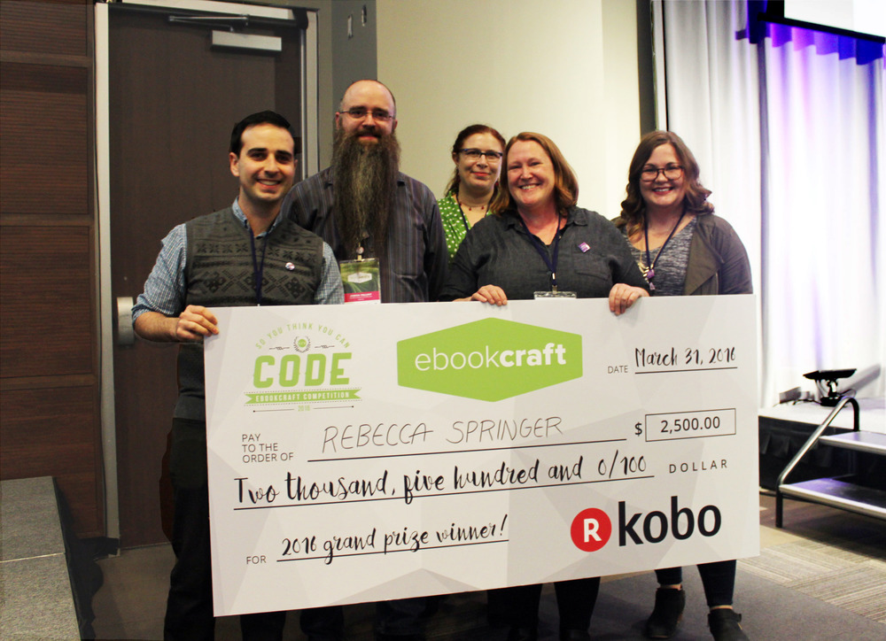 Kobo's Ben Dugas ( far left ) with winner Rebecca Springer ( second from the right ) with judges ( left to right ) Joshua Tallent, India Amos, and Monique Mongeon.