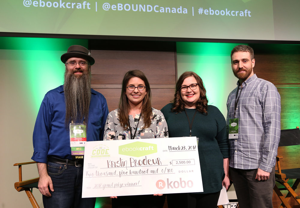 L-R: Joshua Tallent, judge, Kristin Brodeur, winner, Monique Mongeon, judge, Symon Flaming, Kobo representative. Photo by Yvonne Bambrick.