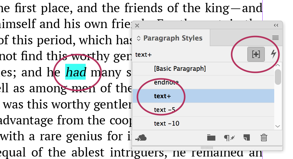 Screen shot of paragraph styles window.