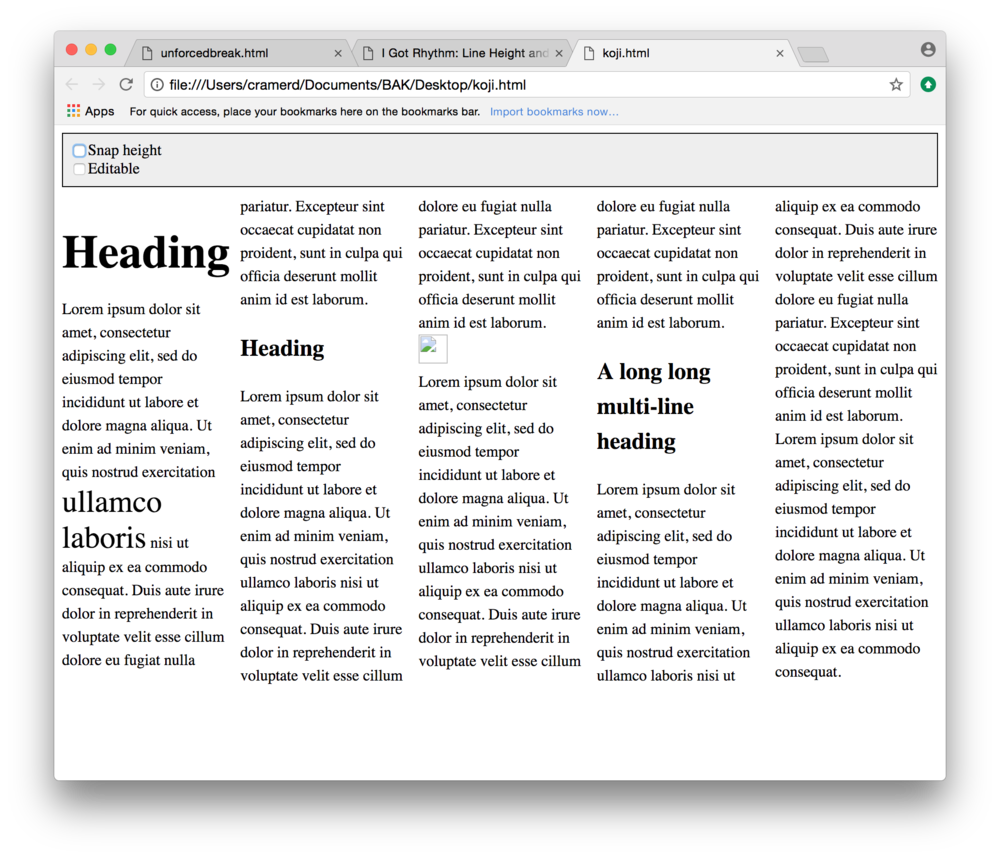Example 6: multi-column text with heads and images, poorly aligned