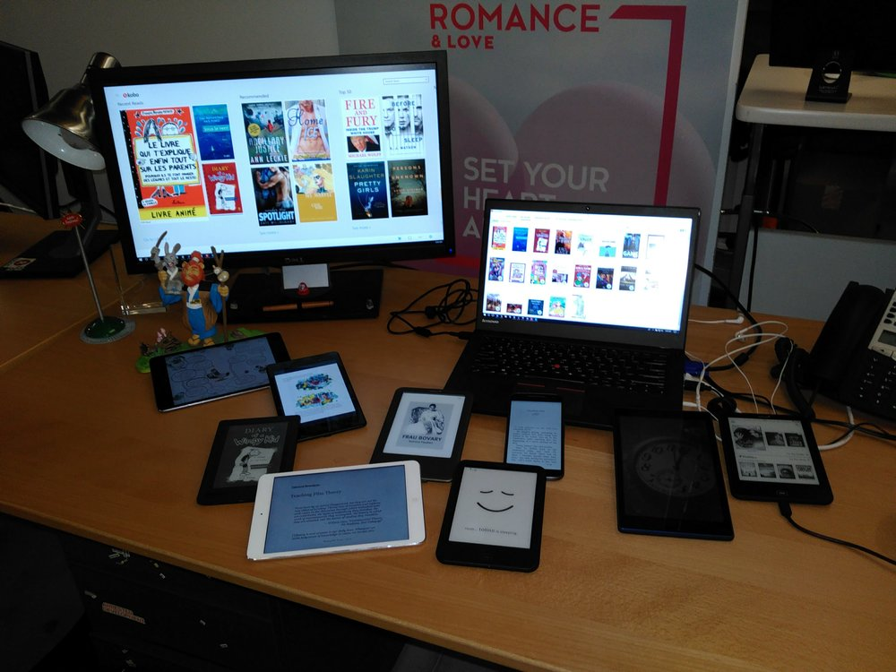 Photo of all the devices used for content review.
