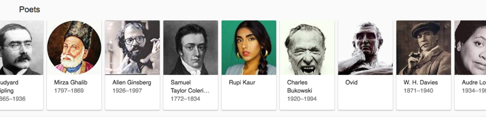 "Google results for ""most popular poets"""