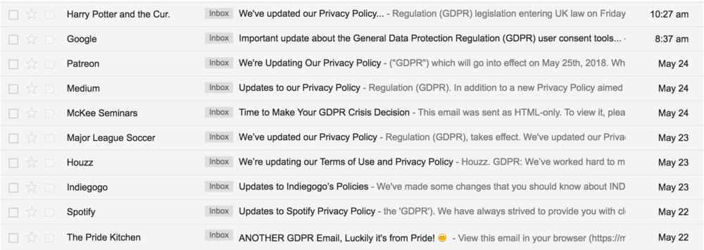 GDPR emails have reached 100% inbox saturation.