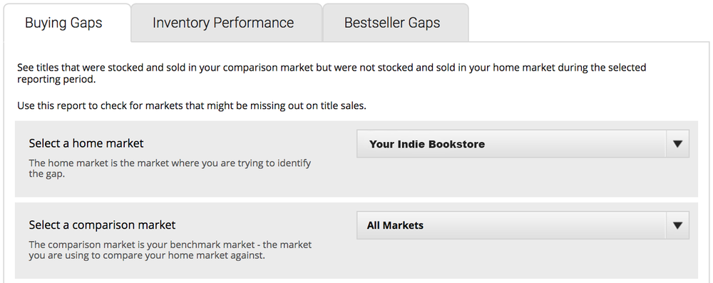 The 'Buying Gaps' market selection page