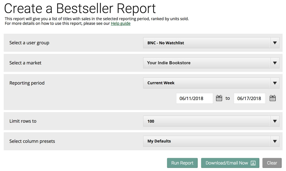 Criteria for running a 'Bestseller Report'