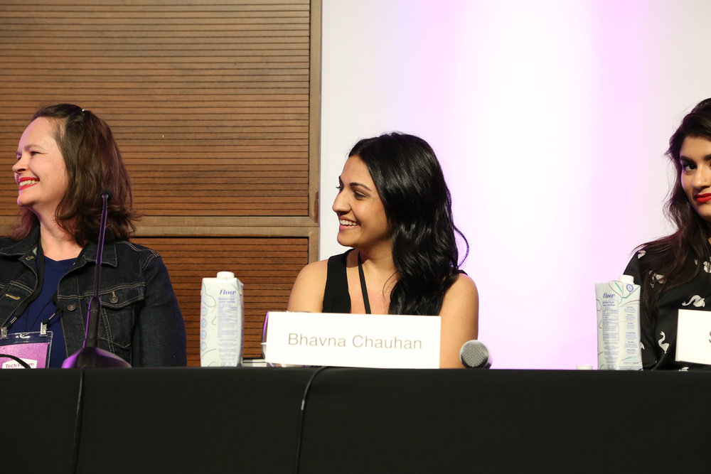 Saffron Beckwith (Ampersand), Bhavna Chauhan (Penguin Random House Canada), and Scaachi Koul (BuzzFeed) at Tech Forum 2018's Women in Publishing panel.