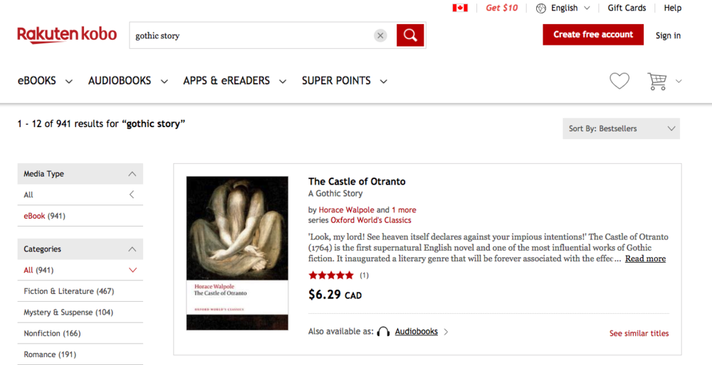 "Screen showing search results for ""gothic story"" on Kobo.com.  The Castle of Otranto  is the first result."