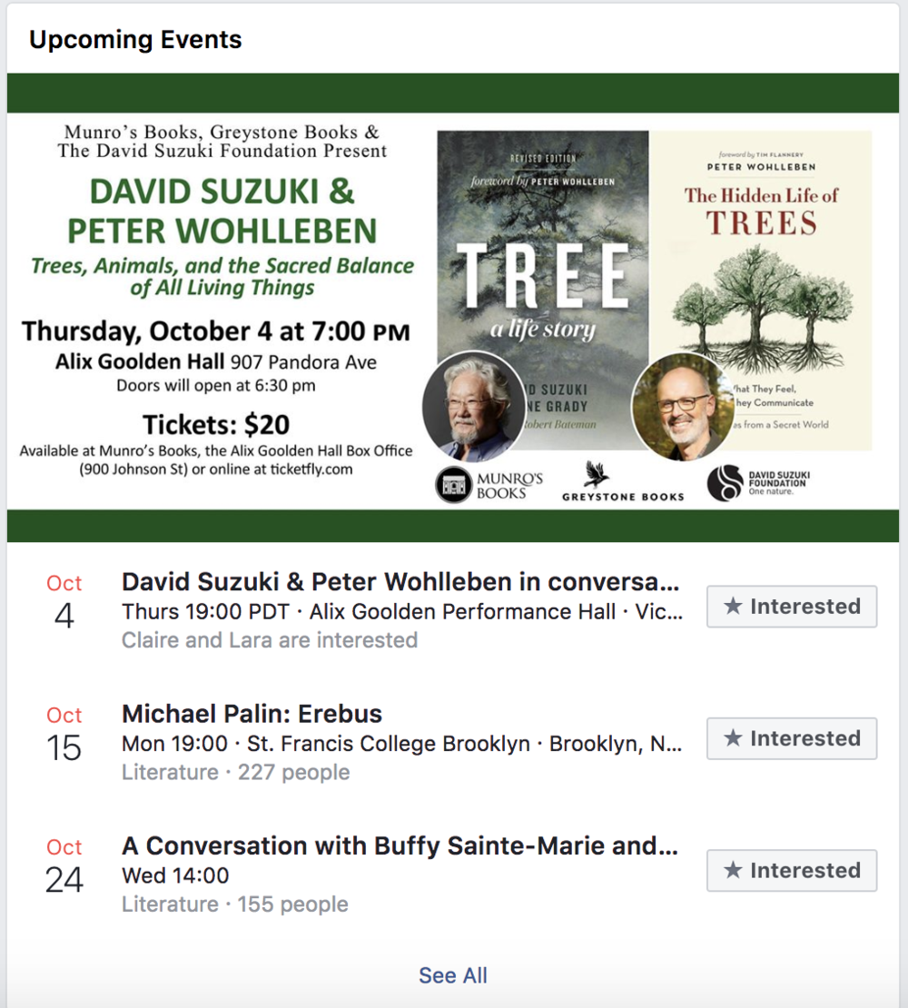 A screen grab of Greystone Books upcoming events on Facebook.