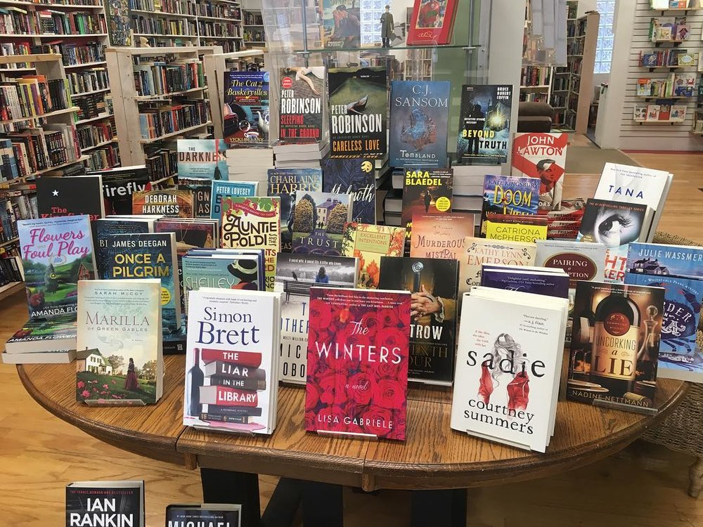 Photo of a book display table in Whodunit?