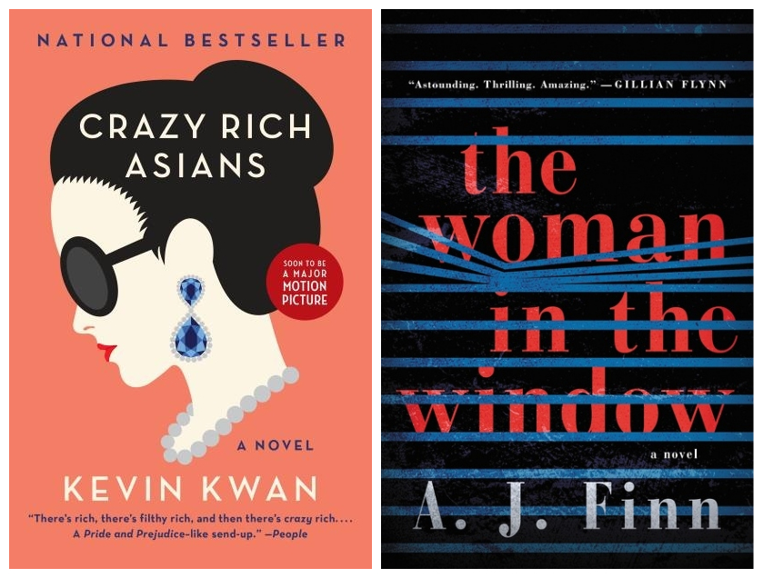 Cover images for Crazy Rich Asians and The Woman in the Window.