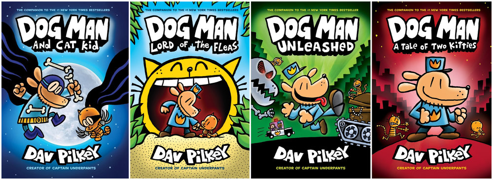 Cover images for all four Dav Pilkey books.