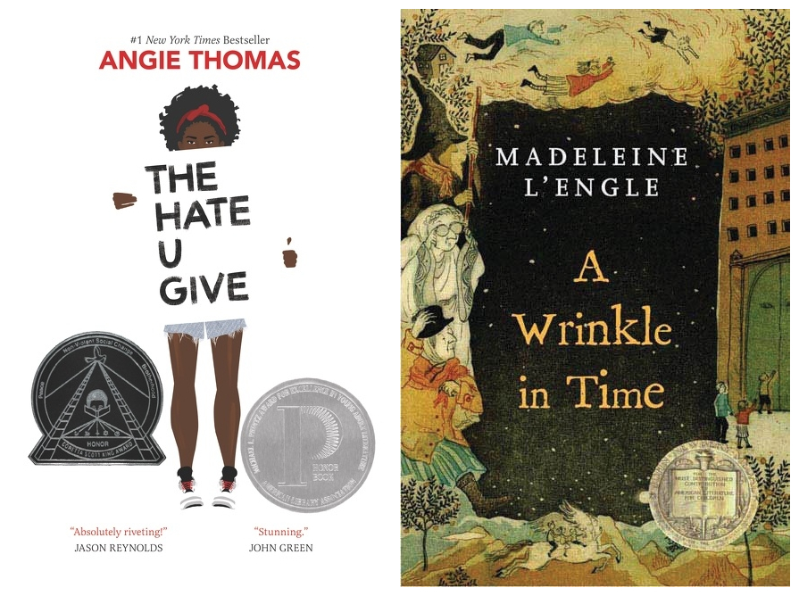 Cover images for The Hate U Give and A Wrinkle in TIme.