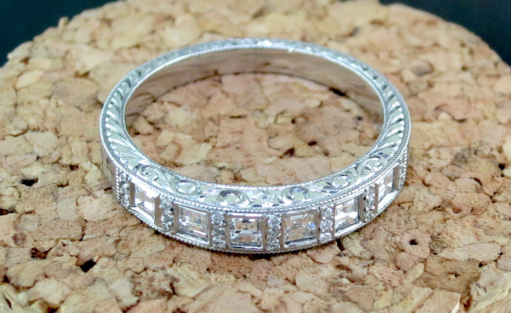 Platinum and Diamond Ring accented with Engraving (BB2312)