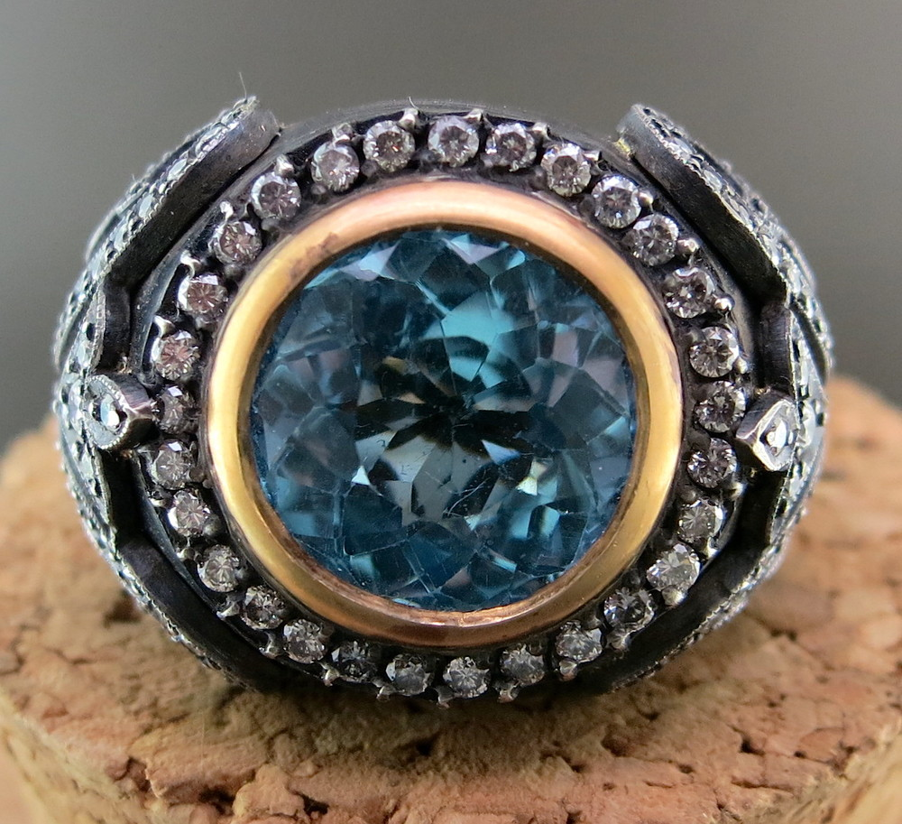 Hand Forged Silver, 22 Karat Yellow Gold, Aquamarine and Diamond Ring (MB829)