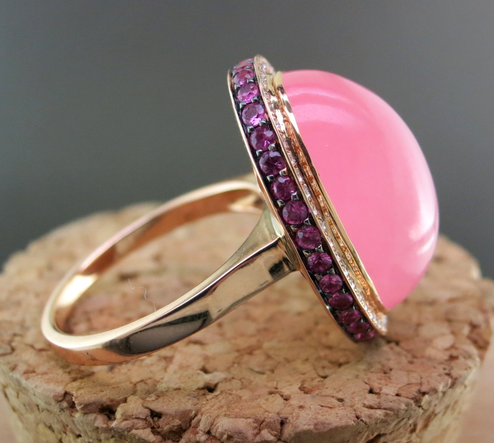 18 Karat Rose Gold, Pink Jade, Diamonds, and Pink Sapphire Ring (MB95)