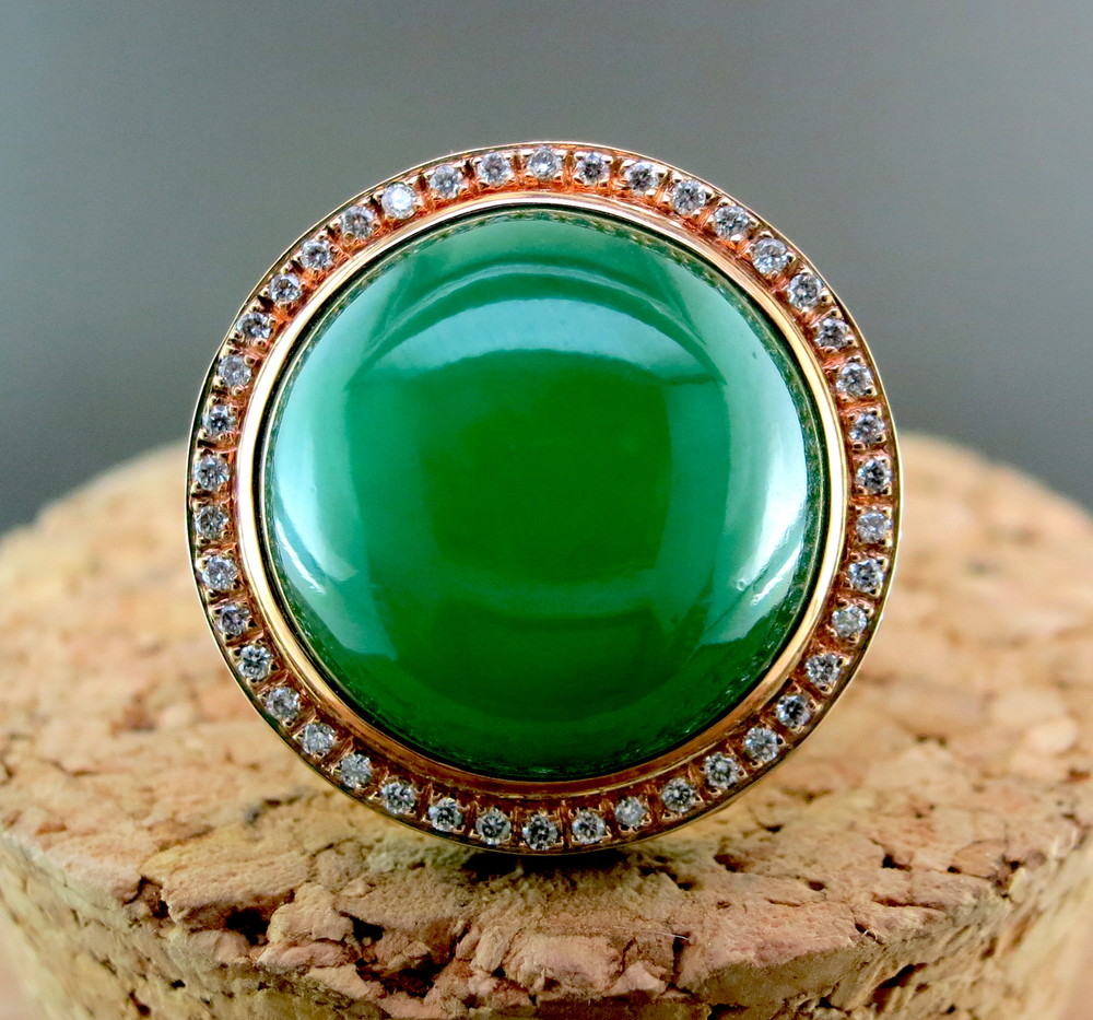 18 Karat Rose Gold, Green Jade, Diamond, and Tsavorite Ring (MB658)