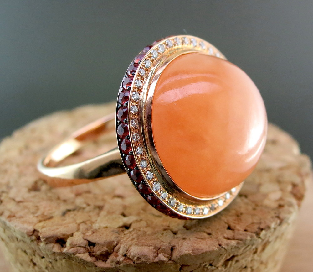 18 Karat Rose Gold, Orange Jade, Orange Sapphires, and Diamonds (MB874)