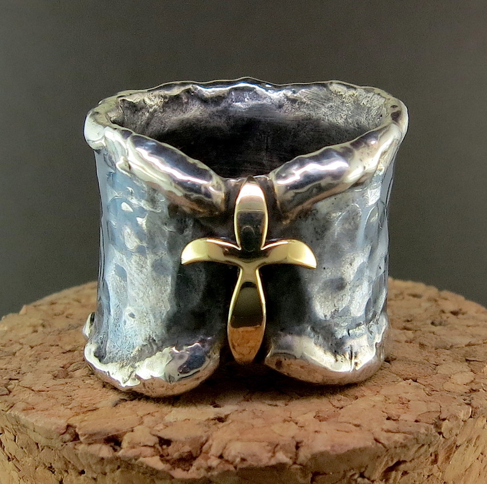 Hand Forged Silver and 18 Karat Yellow Gold Ring