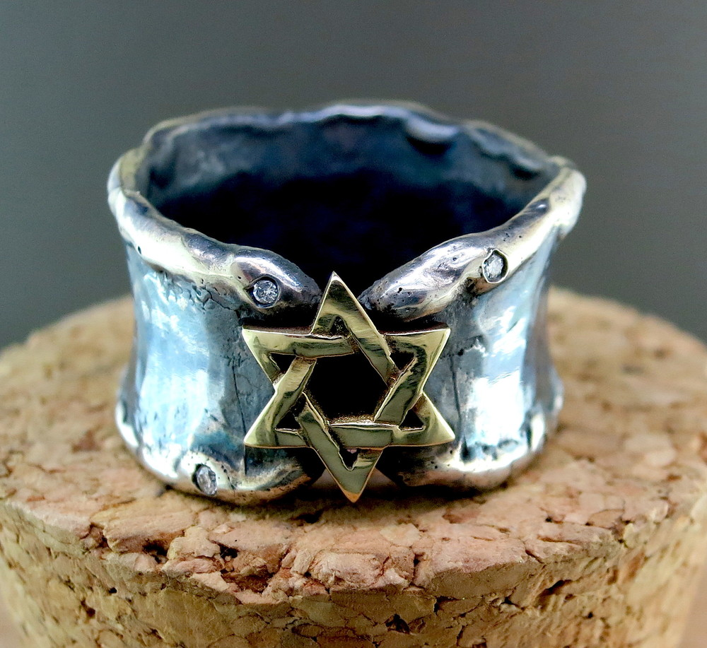 Hand Forged Silver and 18 Karat Yellow Gold Star of David Ring, accented with Diamonds (MB1038YG)