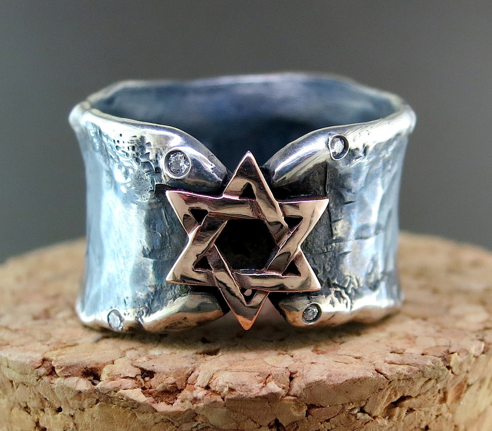 Hand Forged Silver and 18 Karat Rose Gold Star of David Ring, accented with Diamonds (MB1038RG)