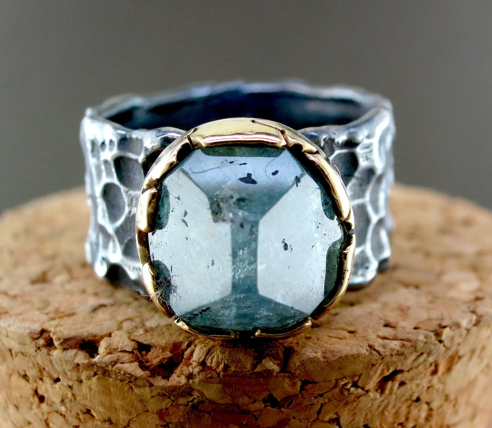 Organic Silver, Aquamarine, 14 Karat Yellow Gold Ring (MB1094)