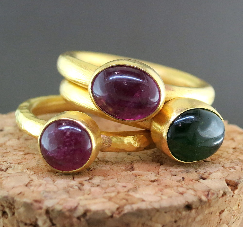 24 Karat Yellow Gold and Tourmaline Stackable Rings