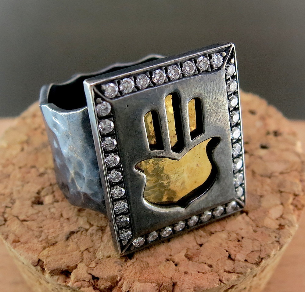 Hand Forged Silver, 18 Karat Yellow Gold, and Sapphire Hamsa Prayer Book Ring (MB2135)