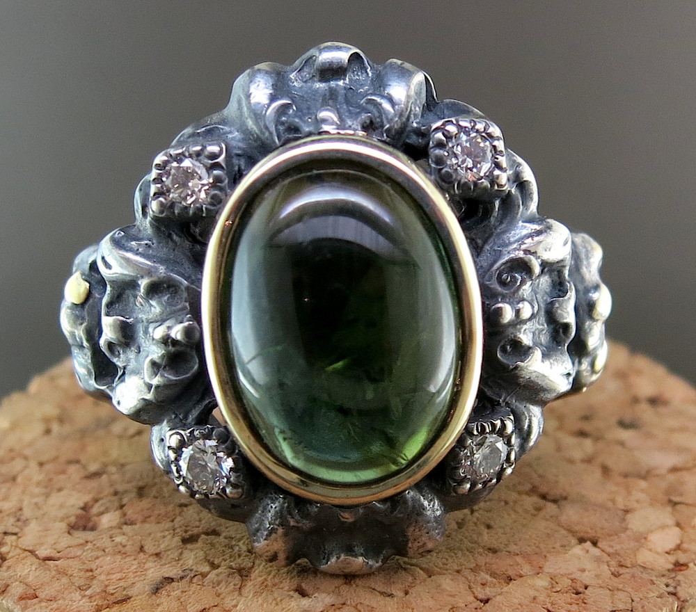 Hand Forged Silver, 18 Karat Yellow Gold, and Green Tourmaline Ring, accented with Diamonds (MB13970)
